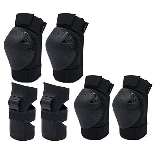 Lyneun Kinder&Erwachsene Schutzausrüstung Set, 6 in 1 Einstellbar Schützerset mit Knie-Ellbogen-Handgelenkschoner-Knieschoner für Rollschuhlaufen, Skifahren, Skateboarden, Fahrrad und Laufrad. (L)