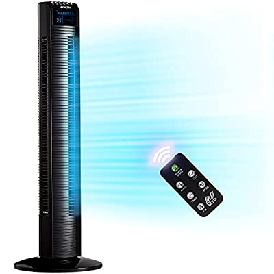 NETTA Tower Fan, Oscillating with Remote Control, LED Display, 3 Speed Settings With 8 Hours Timer, Bladeless Floor Fan for Bedroom Living Rooms Kitchen Home Office - Black