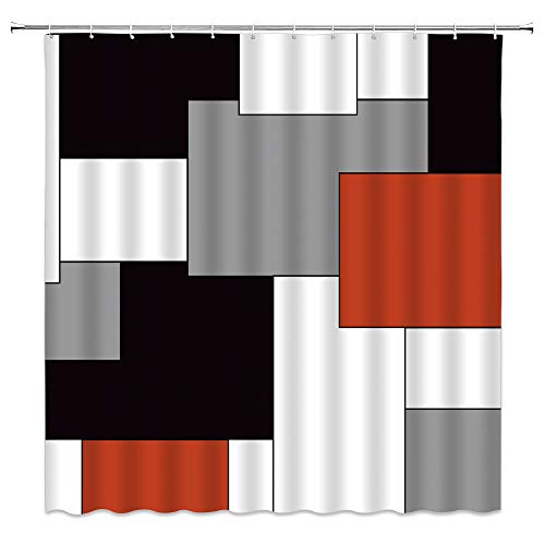 AMFD Abstrakter geometrischer Duschvorhang, modernes geometrisches Quadrat, Muster, Druck, schwarz, grau, rot, weiß, kreativer Polyester-Stoff, Badezimmer-Dekor-Set, 178 cm, inklusive Haken