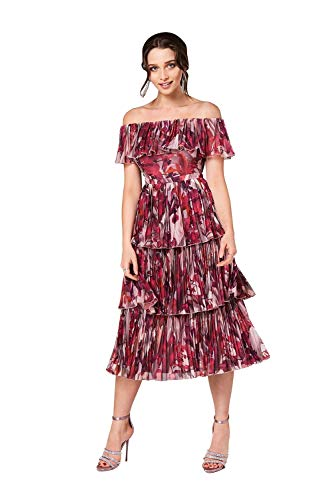 Little Mistress Damen Marlowe Floral Bardot Midi Dress cocktailkleid, Mehrfarbig (Multi 001), 40 (Herstellergröße: 14)