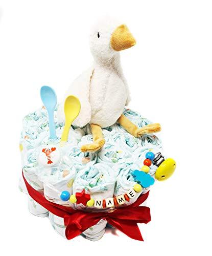 Elfenstall Windeltorte/Pampers-Windeln mit Gänse-Stofftier, Schnullerkette, Adapter und MAM-Schnuller als Geschenk zur Geburt auf Wunsch mit Name des Babys