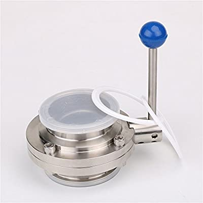 """Tri Clamp Sanitary Butterfly Valve, 3"""" (3 inch) OD:91MM,ID:72.2MM,3 Position,Silicone Seal Stainless Steel 304 with 2 PCS PTFE Gasket from HODEE"""