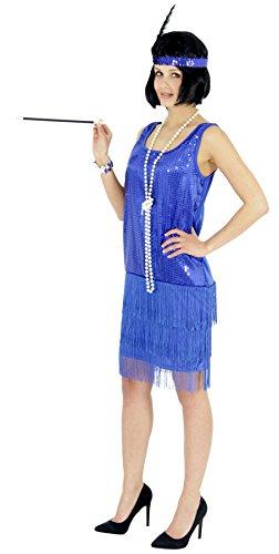 Foxxeo Abito con Paillettes Blu Anni '20 con Frange per Le Donne Elegante Costume Charleston Blu per Il Carnevale, Taglia: XXL