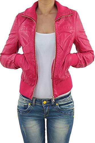 Damen Lederjacke Kunstlederjacke Leder Jacke Damenjacke Jacket Bikerjacke Blouson in vielen Farben S - 3XL M Pink