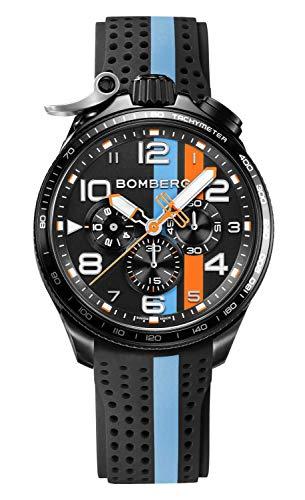 Bomberg BOLT-68 Racing Swiss Herrenuhr mit Silikonband Saphirglas Chronograph BS45CHPBA.059-6.10