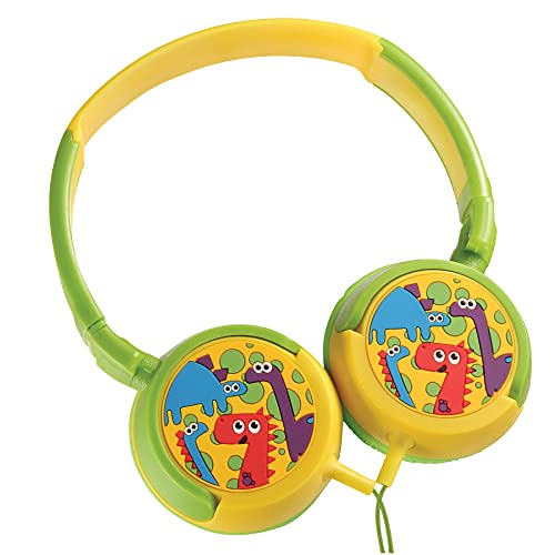 Volkano Wired Kids Headphones with Hearing Protection, Foldable & Adjustable Headband, 85 dB Safe for Children, Girls/Boys, E-Learning, Travel, PC, Cellphones [Yellow/Green] - Dino Kiddies Series