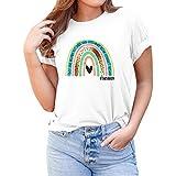 ZEZKT Camiseta Impresión del Arco Iris del Alfabeto para Mu