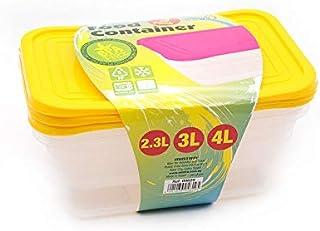 طقم علب بلاستيك بالغطاء لتخزين الطعام وتحضير الوجبات من مينترا، 3 قطع - اصفر