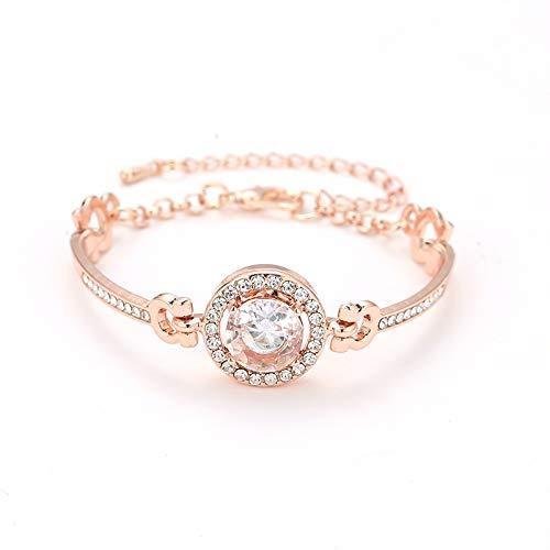 Pulseras de oro y plata de color dorado ajustable con circonita cúbica brillante pulsera de cristal de estrás para mujer regalo elegante pulsera (Color de metal: color rosa).