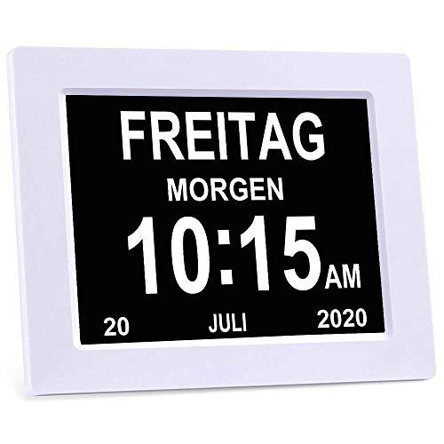 MOCNP MOCN/DC801/Seniorenuhr 8 Zoll. Digitale Kalender und Seniorenuhr Foto-Funktion - Digitale Uhr, Wecker, Kalender für Senioren & Demenzkranke (z.B. Alzheimer) mit Erinnerungsfunktion