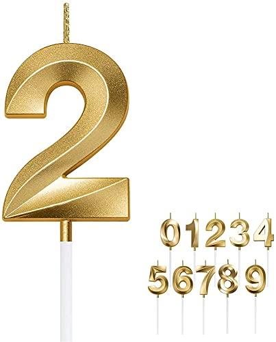 EOINSHOP Numero di Compleanno Candele 3D Forma Oro Glitter Candele Compleanno Decorativo Torta di Compleanno Candele 0 1 2 3 4 5 6 7 8 9 Cake Topper Decorazione per Matrimonio Festa di Nozze Candela