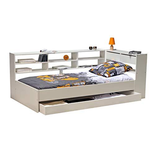 Weber Industries 379744 Lit Roller + Etagère+ Tiroir + Sommier Laqué Taupe 192 x 95 x 28 cm