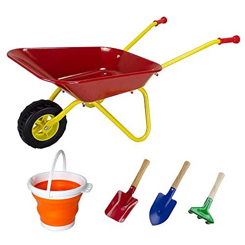 KOVOME Kid's Wheelbarrow Toy, Gardening Metal Small Wheel Barrow Wagon Set, Yard Tools Gift for Boys and Girls, Red and Yellow, Children Barrows