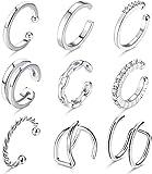 LOLIAS 9 PCS Ear Cuffs Pendientes de aro pequeños para mujer Clips de oreja falsos no perforantes CZ Helix Cartilage Conch Cuffs Set de pendientes