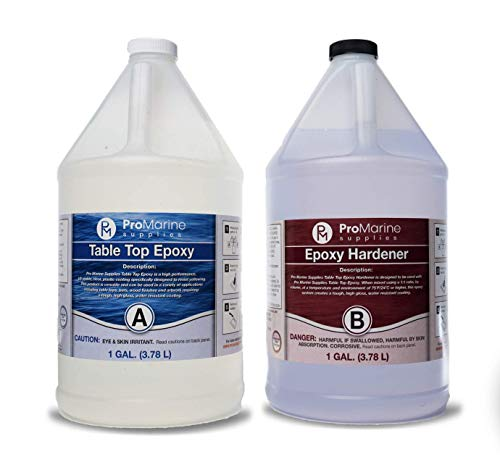 Clear Table Top Epoxy Resin That Self Levels, This is a 2 Gallon High Gloss (1 Gallon Resin + 1 Gallon Hardener) Kit That's UV Resistant – It's DIYER & Pro Preferred with Minimal Bubbles