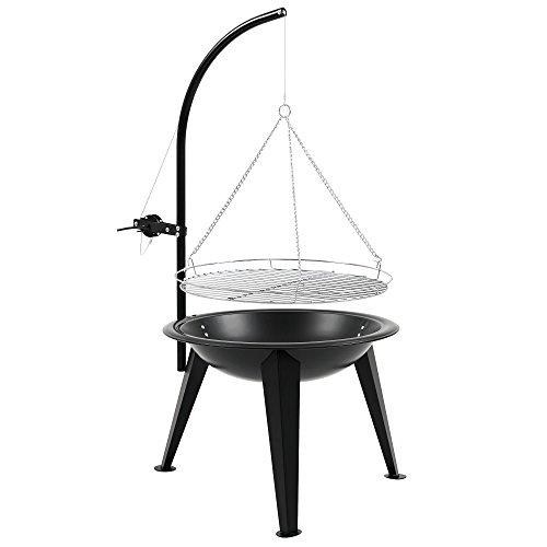BBQ-Toro Schwenkgrill | Ø 55 cm | Holzkohle Grill mit Grillrost | Grillgalgen mit Kurbel | schwarz | Standgrill
