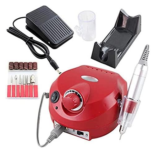 SHUHANG Máquina de Pulsera de uñas del pulidor de uñas Kit Conjunto de Archivos para el Gel de acrílico Arte Pulidor de pulidor Conjuntos de acristalamiento de manicura rápida pedicura (Color : Red)