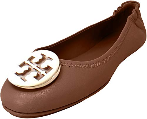 Tory Burch Minnie Leather Travel Ballet Flats (7.5, Royal Tan / Gold)