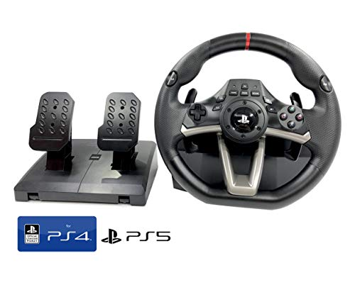 Volante y Pedales PS4 con Licencia Original Playstation 4 RWA Apex Incl. Multi vibración TouchSense® (PS4/PS3/PC) (Volante + Pedales)