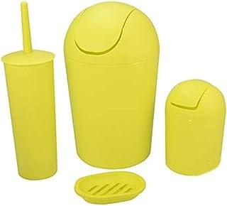 ZXJshyp Trash Bin Creative Shake Multicolor Trash Can Bathroom Kitchen Plastic Toilet Brush Set Waste Bin (Color : Yellow)