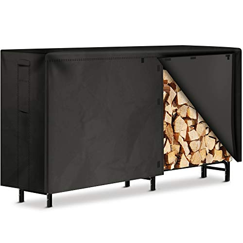 Amagabeli 8ft Firewood Log Rack with Cover Combo Set Waterproof Outdoor Log Holder for Fireplace Heavy Duty Wood Stacker for Patio Logs Pit Storage Steel Tubular Wood Pile Rack Tool Accessories Black