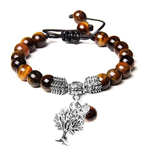 HUIZHANG Encanto del árbol de la Vida Piedras Naturales Cuentas Redondas Longitud de Cuerda Ajustable Pulsera Trenzada MujerHombre Pulsera Tejida