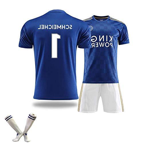 HANWAR Herren-Fußballuniform-Kit, SCHMEICHEL 1 Vardy 9 Maddison 10 Leicester-Trikot, 100% Polyesterfaser, die erste Wahl für Geschenke, kann wiederholt gewaschen Werden-SCHMEICHEL-XL