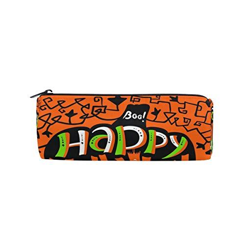 ALARGE Federmäppchen mit Reißverschluss, Zitat Happy Halloween Kürbisrolle Stiftehalter Schminktasche für Schule Kinder Jungen Mädchen