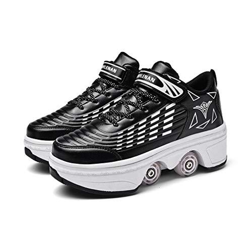 ZXSZX Patines Rodillos, Patines En Línea para Niños Cuatro Rollos Niñas Zapatos con Rollos Ruedas Deformadas Skates Scooter Shoe Skates Skates Hombres Mujeres,Schwarz-40