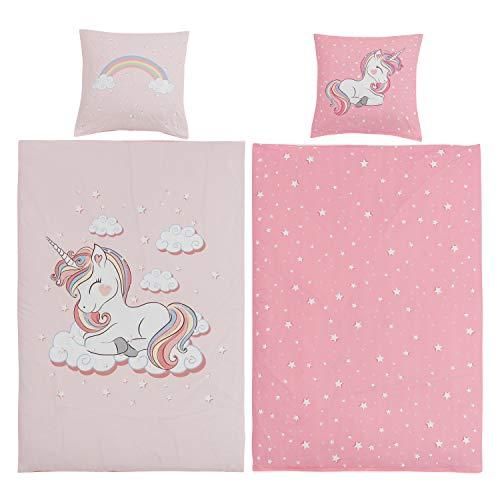 Aminata BALANCE Bettwäsche 135x200 Einhorn Mädchen Baumwolle Kinder Einhornbettwäsche mit YKK Reißverschluss Kinderbettwäsche mit Unicorn- Kinder-Bettwäsche-Set Einhorn-Motiv rosa, pink