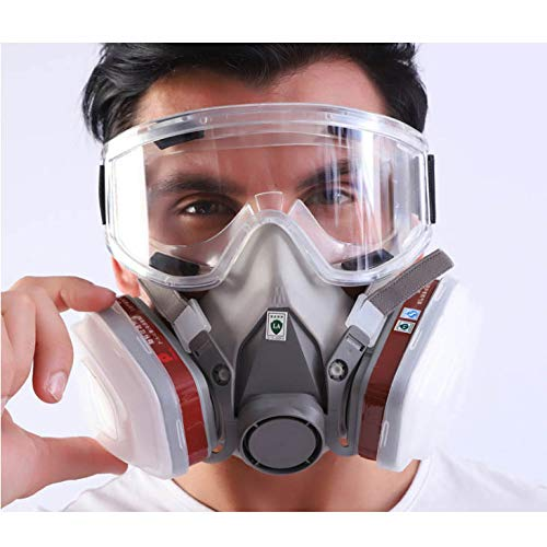 ONEWDJ, half-face respirator, respiratory protection, industrial dust mask, gas mask, breathable and washable (with 1 large eye mask)