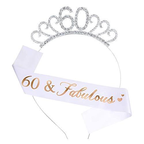 Tiara y faja de 60 cumpleaños, 60 fabulosa champán con purpurina satinada y tiara de cristal, corona de cumpleaños, 60 cumpleaños, decoración para mujeres