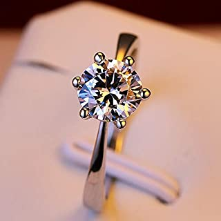 maket 2 Ct Round Cut Diamond 925 Sterling Silver Solitaire Engagement Ring for Women 7