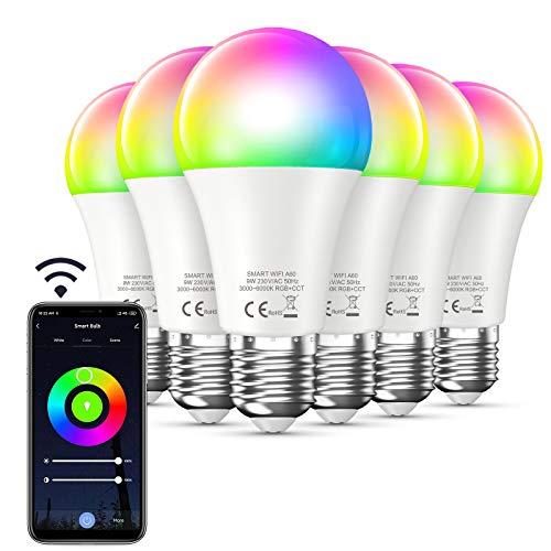Bewahly Lampadina Alexa [6 Pezzi], E27 9W Lampadina WiFi Intelligente Led, RGB Colorate Smart Lampadine, Dimmerabile Multicolore e Bianco Freddo Caldo, 3000k-6000k, Compatibile con Alexa e Google Home