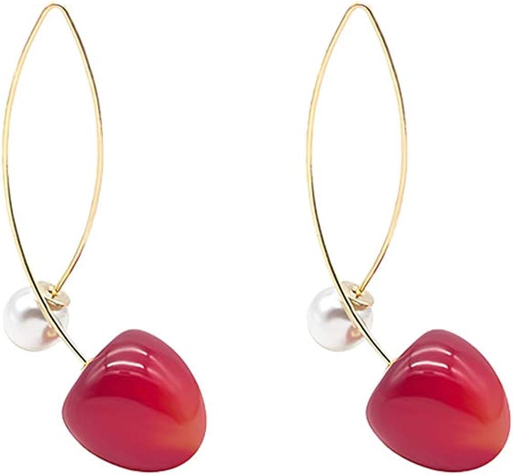 YUNXI 3D Lifelike Red Cherry Drop Earrings Cute Funny Acrylic Resin Fruit Gold Dangle Earring for Girls Women Kids Gifts