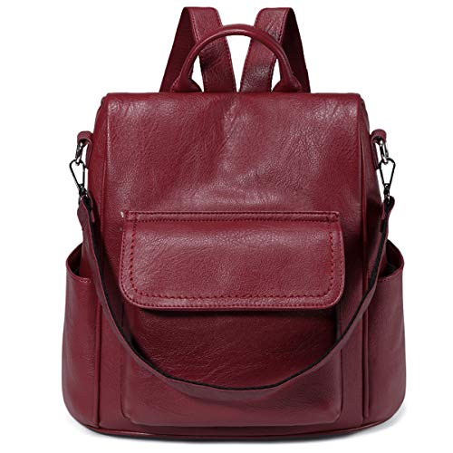 Backpack for Women,VASCHY PU Leather Anti Theft Convertible Backpack Shoulder Bag for Ladies with Detachable Shoulder Strap