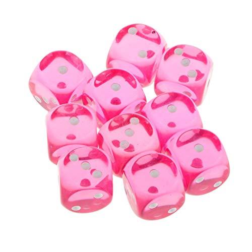 Vektenxi Packung mit 10 Würfel Set D3 transparent Rose Red für Brettspiele, Party Favors Supplies Hohe Qualität