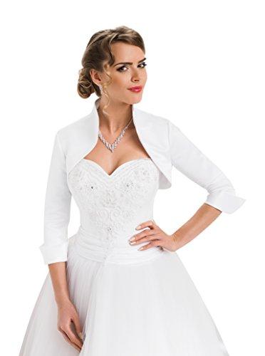 Wedding Satin Shrug Bridal Bolero Jacket with Three Quarter Sleeve White