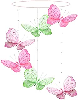 Butterfly Mobile Dark Pink Fuchsia Green Pink Shimmer Spiral Nylon Mesh Butterflies Mobiles Decorations Decorate Baby Nursery Bedroom Girls Room Ceiling Decor Party Baby Shower Crib Hanging 3D Art