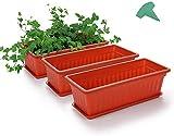 MMBOX - Confezione da 3 fioriere in plastica con fiori in terracotta, 45,5 cm, con 15 etichette per piante, per davanzale, patio, giardino, decorazione per la casa, portico (3 pezzi, arancione)
