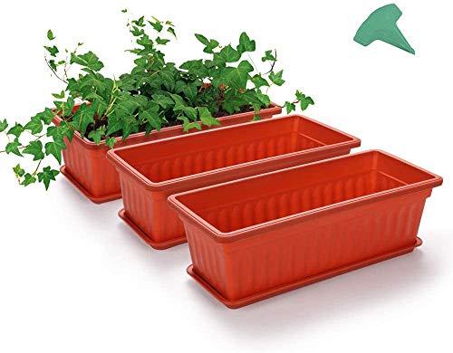 MMBOX Blumenkasten, 3 Packungen 43,2 cm, terrakottafarben, Kunststoff, Gemüse-Pflanzgefäße mit 15 Pflanzenetiketten, für Fensterbank, Terrasse, Garten, Heimdekoration, Veranda (3 Stück, orange)