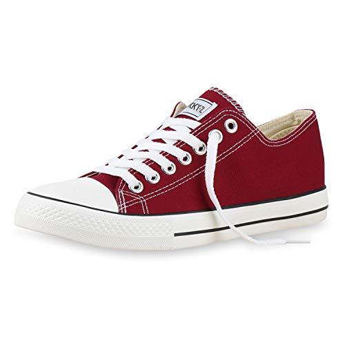 SCARPE VITA Herren Sneakers Kult Sportschuhe Schnürer Stoffschuhe 165768 Dunkelrot Dark Red 45
