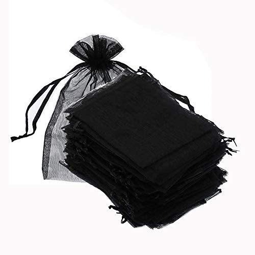 100PCS Black Organza Bags 4x6 inch, Drawstring Chic Gift Beauty Bags, Jewelry Pouches Lash Aftercare Bag Eyelash Extensions Haircare Products Bag
