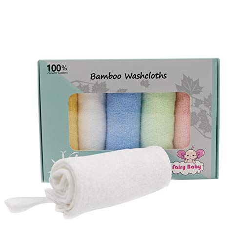 Fairy Baby Serviettes de Bain Bébé Petites Serviettes Débarbouillettes en Bambou Lot de 5 Gants de Toilette Pour Bébé 25cm*25cm