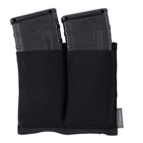IDOGEAR Elastic M4 Double Mag Pouch MOLLE Magazine Pouch Tactical Mag Holder for M4 Rifle Magazines (Black)