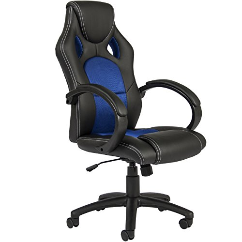 Best Choice Products Executive Racing Office Chair PU Leather Swivel Computer Desk Seat High-Back Blue
