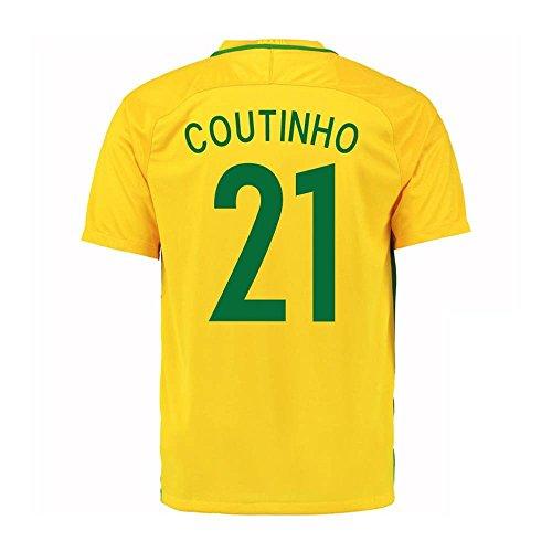 Coutinho #21 Brazil Home Soccer Jersey Copa America Centenario 2016 Youth. (YXS) Yellow