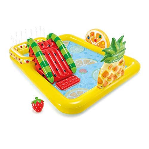Piscina hinchable Plaza de juegos inflable para niños, piscina de diapositivas multifuncional de fruta, adecuada para niños, familias, jardines al aire libre, fiestas de piscina para interiores y tras