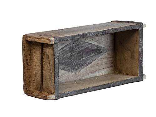 Woodkings® Deko-Kiste Aufbewahrungsbox Ziegelform Backsteinform rustikal recyceltes Holz mit Metallbeschlägen Holzbox
