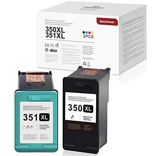 BeneToner 350XL 351XL - Cartuchos de tinta remanufacturados para HP 350XL 351XL para HP Officejet J6424 J5780 J5785, HP Photosmart C4280 C4340 C4380 C5280 C4424 C480 (negro + color)